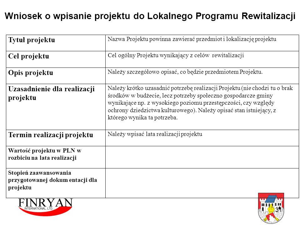31 Wniosek o wpisanie projektu do Lokalnego Programu Rewitalizacji