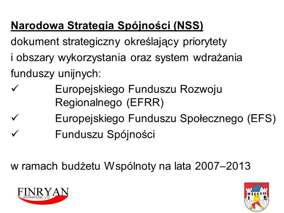 4 Narodowa Strategia Spójności (NSS) dokument strategiczny określający priorytety i obszary wykorzystania oraz system wdrażania funduszy unijnych: Eur