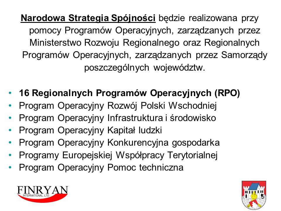 5 Narodowa Strategia Spójności będzie realizowana przy pomocy Programów Operacyjnych, zarządzanych przez Ministerstwo Rozwoju Regionalnego oraz Region