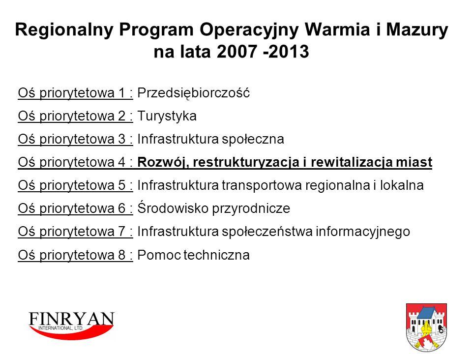 6 Regionalny Program Operacyjny Warmia i Mazury na lata 2007 -2013 Oś priorytetowa 1 : Przedsiębiorczość Oś priorytetowa 2 : Turystyka Oś priorytetowa