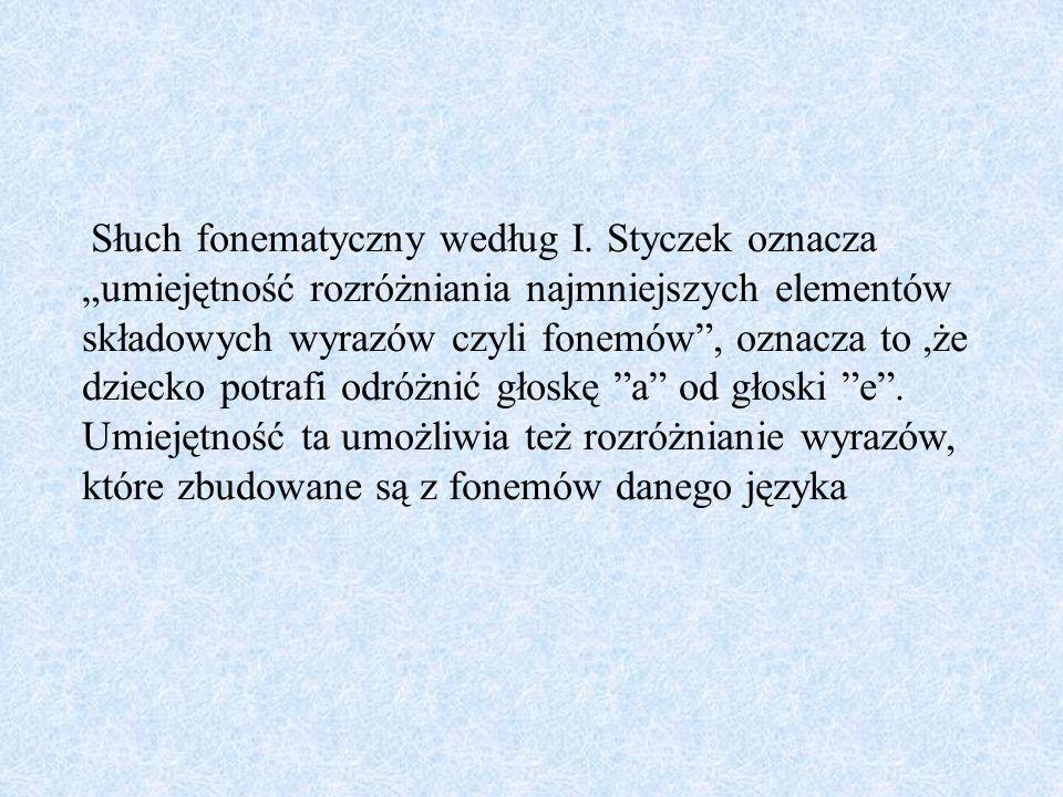 Słuch fonematyczny według I. Styczek oznacza umiejętność rozróżniania najmniejszych elementów składowych wyrazów czyli fonemów, oznacza to,że dziecko