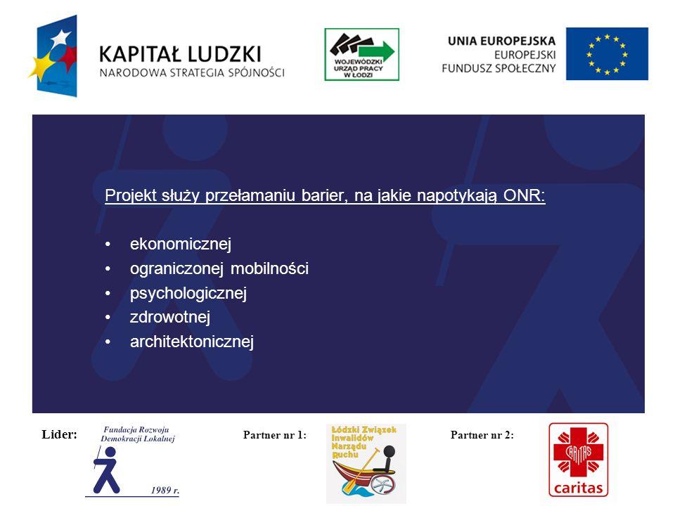 Lider: Partner nr 1: Partner nr 2: Projekt służy przełamaniu barier, na jakie napotykają ONR: ekonomicznej ograniczonej mobilności psychologicznej zdrowotnej architektonicznej