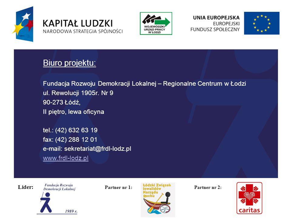 Lider: Partner nr 1: Partner nr 2: Biuro projektu: Fundacja Rozwoju Demokracji Lokalnej – Regionalne Centrum w Łodzi ul.