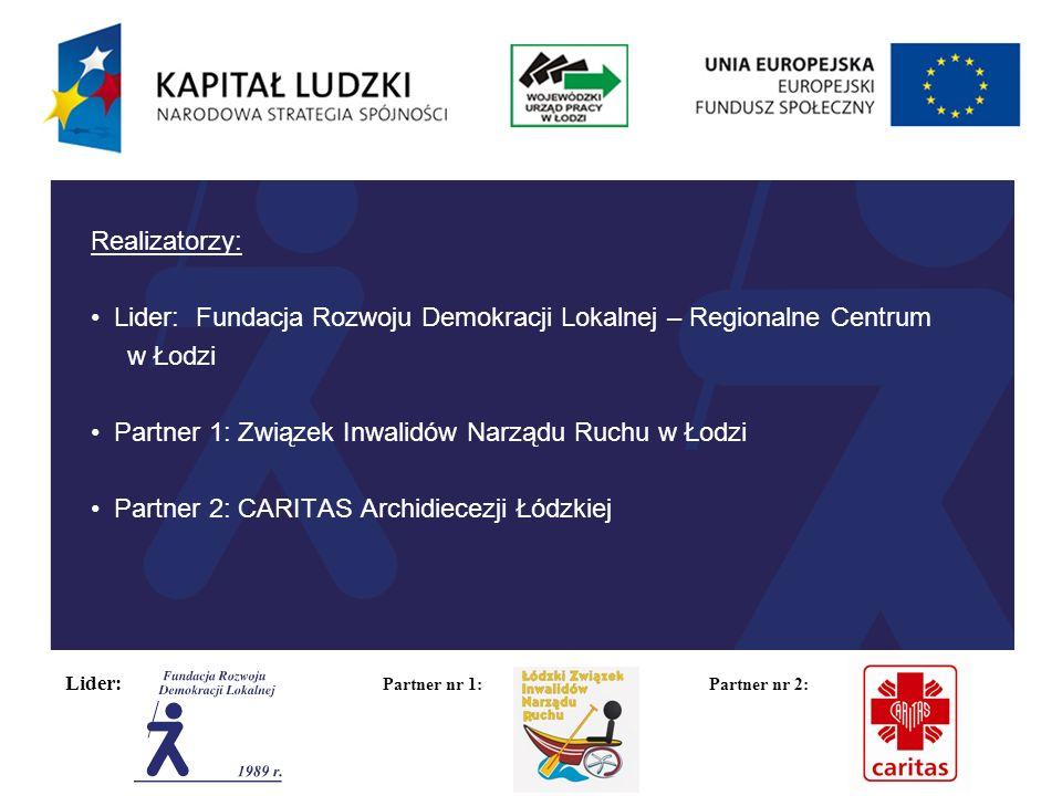 Lider: Partner nr 1: Partner nr 2: Bariera:Środki zaradcze: Psychologicznawsparcie psychologiczne zajęcia służące podniesieniu samooceny, motywacji i kompetencji psychospołecznych wyjazdy integracyjne