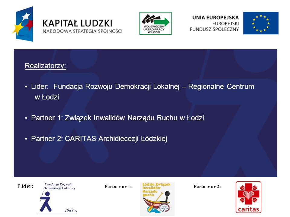 Lider: Partner nr 1: Partner nr 2: Okres realizacji: 01.11.2012 -30.04.2014 Obszar realizacji: Miasto Łódź