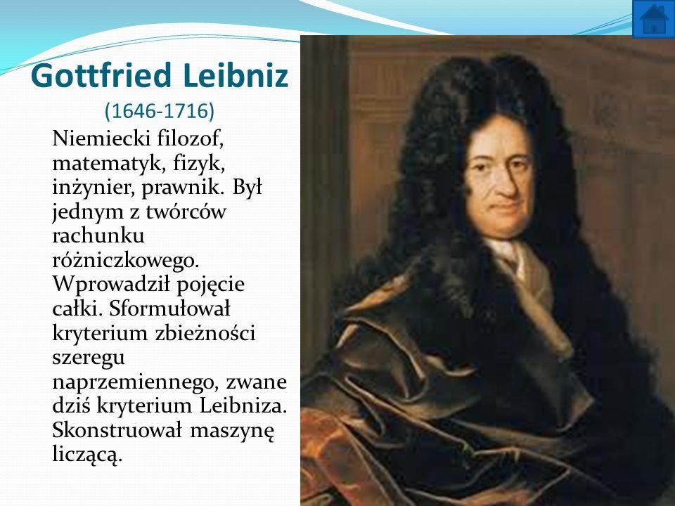 Gottfried Leibniz (1646-1716) Niemiecki filozof, matematyk, fizyk, inżynier, prawnik. Był jednym z twórców rachunku różniczkowego. Wprowadził pojęcie