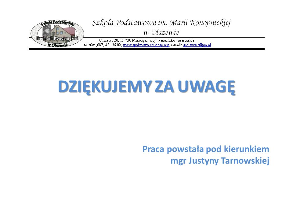 Praca powstała pod kierunkiem mgr Justyny Tarnowskiej DZIĘKUJEMY ZA UWAGĘ