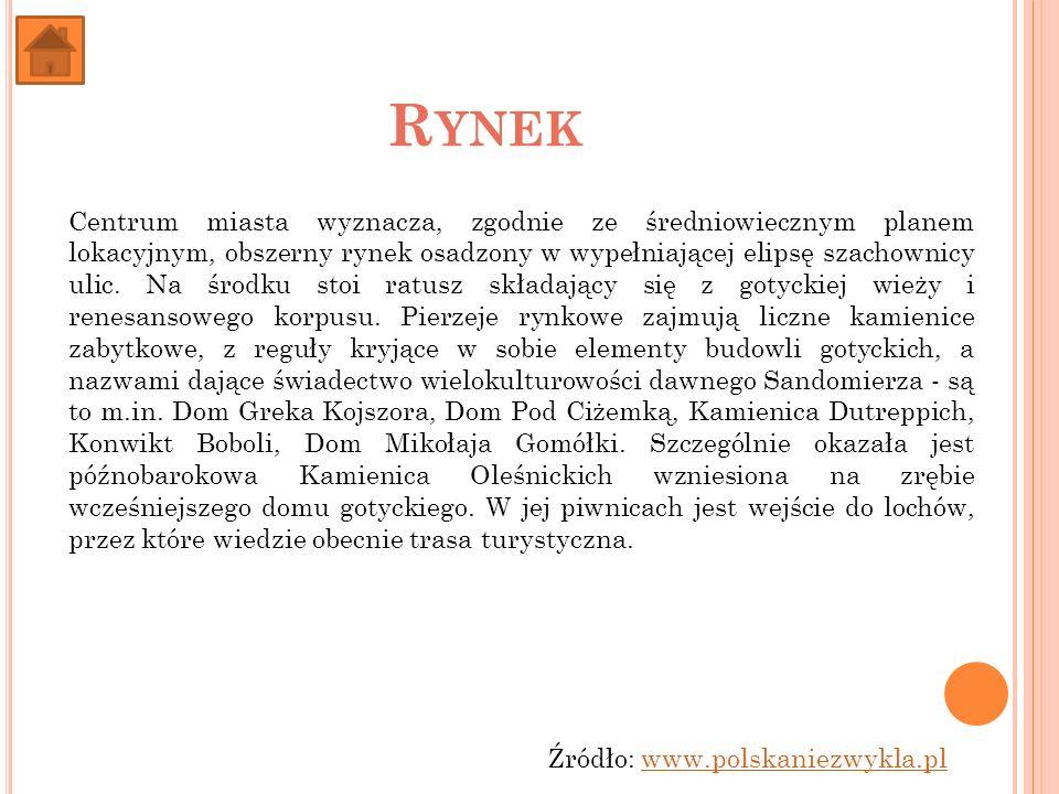R YNEK Centrum miasta wyznacza, zgodnie ze średniowiecznym planem lokacyjnym, obszerny rynek osadzony w wypełniającej elipsę szachownicy ulic. Na środ