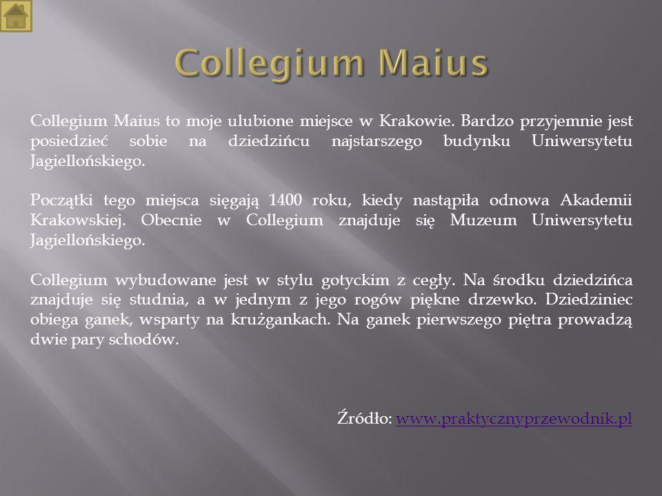 Collegium Maius to moje ulubione miejsce w Krakowie. Bardzo przyjemnie jest posiedzieć sobie na dziedzińcu najstarszego budynku Uniwersytetu Jagielloń