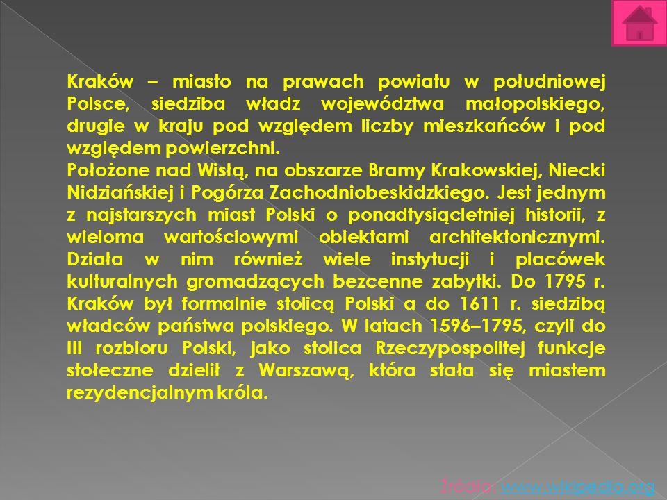 Kraków – miasto na prawach powiatu w południowej Polsce, siedziba władz województwa małopolskiego, drugie w kraju pod względem liczby mieszkańców i po
