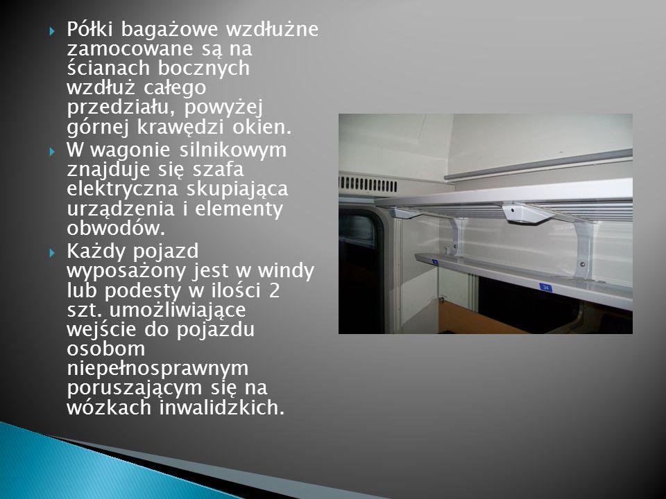 Półki bagażowe wzdłużne zamocowane są na ścianach bocznych wzdłuż całego przedziału, powyżej górnej krawędzi okien.