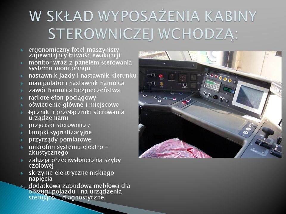 ergonomiczny fotel maszynisty zapewniający łatwość ewakuacji monitor wraz z panelem sterowania systemu monitoringu nastawnik jazdy i nastawnik kierunk