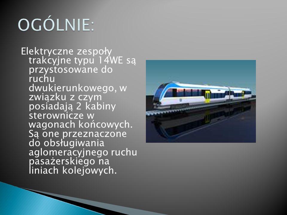 Elektryczne zespoły trakcyjne typu 14WE są przystosowane do ruchu dwukierunkowego, w związku z czym posiadają 2 kabiny sterownicze w wagonach końcowych.