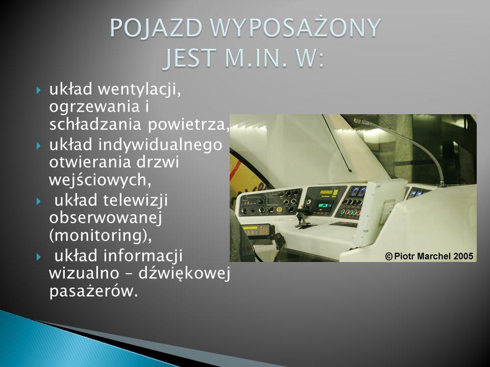 układ wentylacji, ogrzewania i schładzania powietrza, układ indywidualnego otwierania drzwi wejściowych, układ telewizji obserwowanej (monitoring), układ informacji wizualno – dźwiękowej pasażerów.