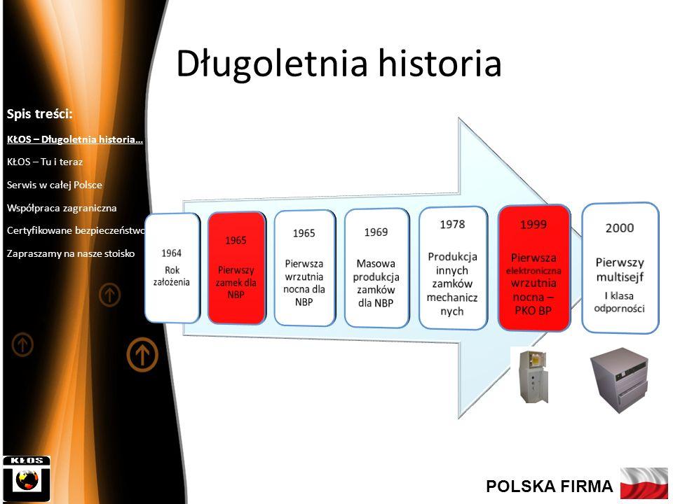 Długoletnia historia Spis treści: KŁOS – Długoletnia historia… KŁOS – Tu i teraz Serwis w całej Polsce Współpraca zagraniczna Certyfikowane bezpieczeństwo Zapraszamy na nasze stoisko POLSKA FIRMA Kapitał założycielski: 6 600 000 zł