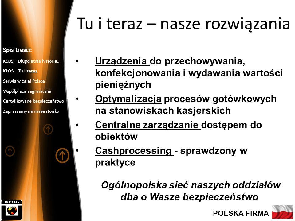 6 Ogólnopolski Serwis – max 4 godzinny czas reakcji Serwisujemy ponad 4000 placówek różnych banków Spis treści: KŁOS – Długoletnia historia… KŁOS – Tu i teraz Serwis w całej Polsce Współpraca zagraniczna Certyfikowane bezpieczeństwo Zapraszamy na nasze stoisko POLSKA FIRMA