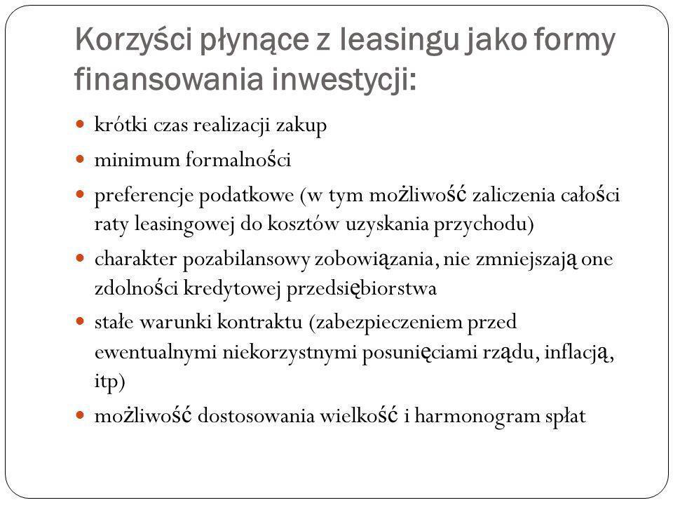 Korzyści płynące z leasingu jako formy finansowania inwestycji: krótki czas realizacji zakup minimum formalno ś ci preferencje podatkowe (w tym mo ż l