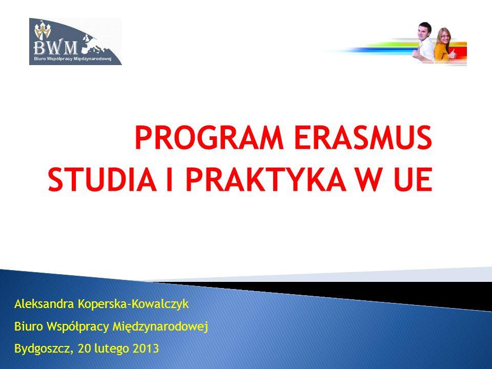 PROGRAM ERASMUS STUDIA I PRAKTYKA W UE Aleksandra Koperska-Kowalczyk Biuro Współpracy Międzynarodowej Bydgoszcz, 20 lutego 2013