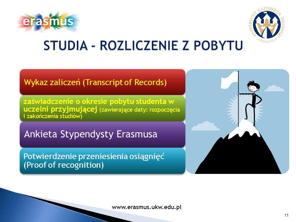 11 Wykaz zaliczeń (Transcript of Records) zaświadczenie o okresie pobytu studenta w uczelni przyjmującej (zawierające daty: rozpoczęcia i zakończenia