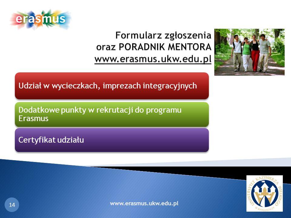18 14 Udział w wycieczkach, imprezach integracyjnych Dodatkowe punkty w rekrutacji do programu Erasmus Certyfikat udziału www.erasmus.ukw.edu.pl