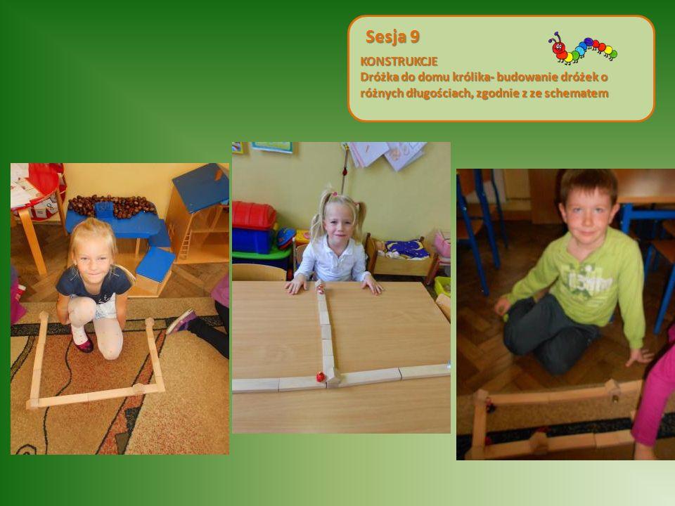 KONSTRUKCJE Dróżka do domu królika- budowanie dróżek o różnych długościach, zgodnie z ze schematem Sesja 9