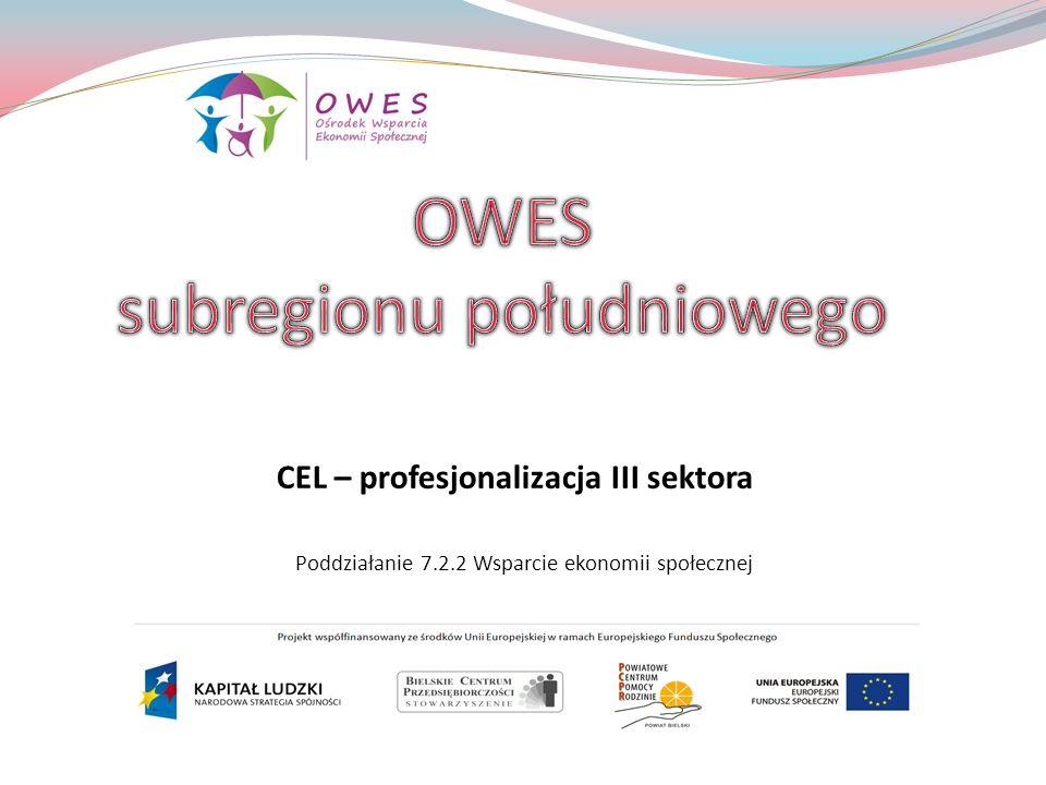 Poddziałanie 7.2.2 Wsparcie ekonomii społecznej CEL – profesjonalizacja III sektora