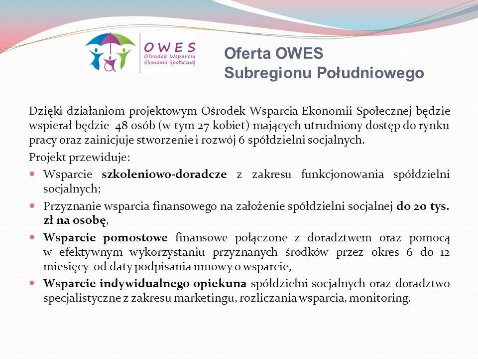 Oferta OWES Subregionu Południowego Dzięki działaniom projektowym Ośrodek Wsparcia Ekonomii Społecznej będzie wspierał będzie 48 osób (w tym 27 kobiet