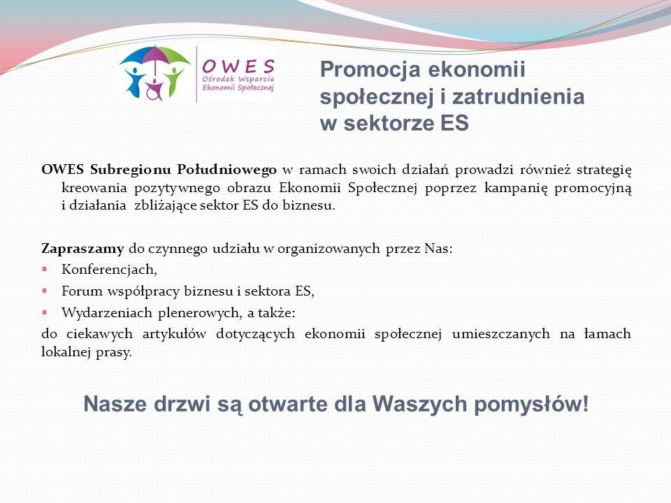 Promocja ekonomii społecznej i zatrudnienia w sektorze ES OWES Subregionu Południowego w ramach swoich działań prowadzi również strategię kreowania po