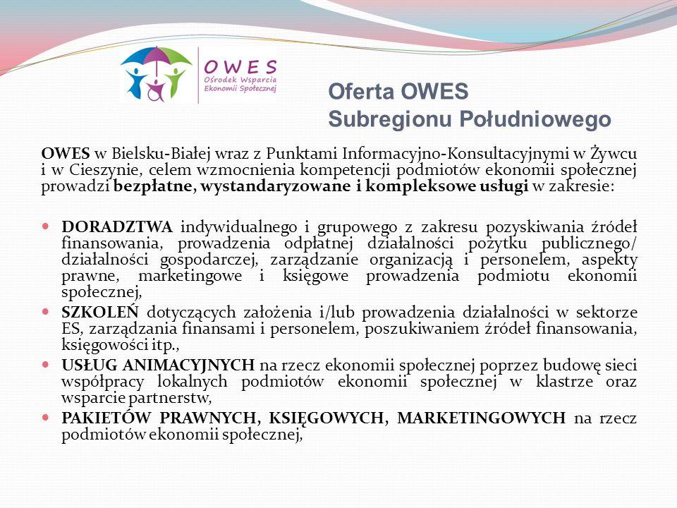 Oferta OWES Subregionu Południowego OWES w Bielsku-Białej wraz z Punktami Informacyjno-Konsultacyjnymi w Żywcu i w Cieszynie, celem wzmocnienia kompet