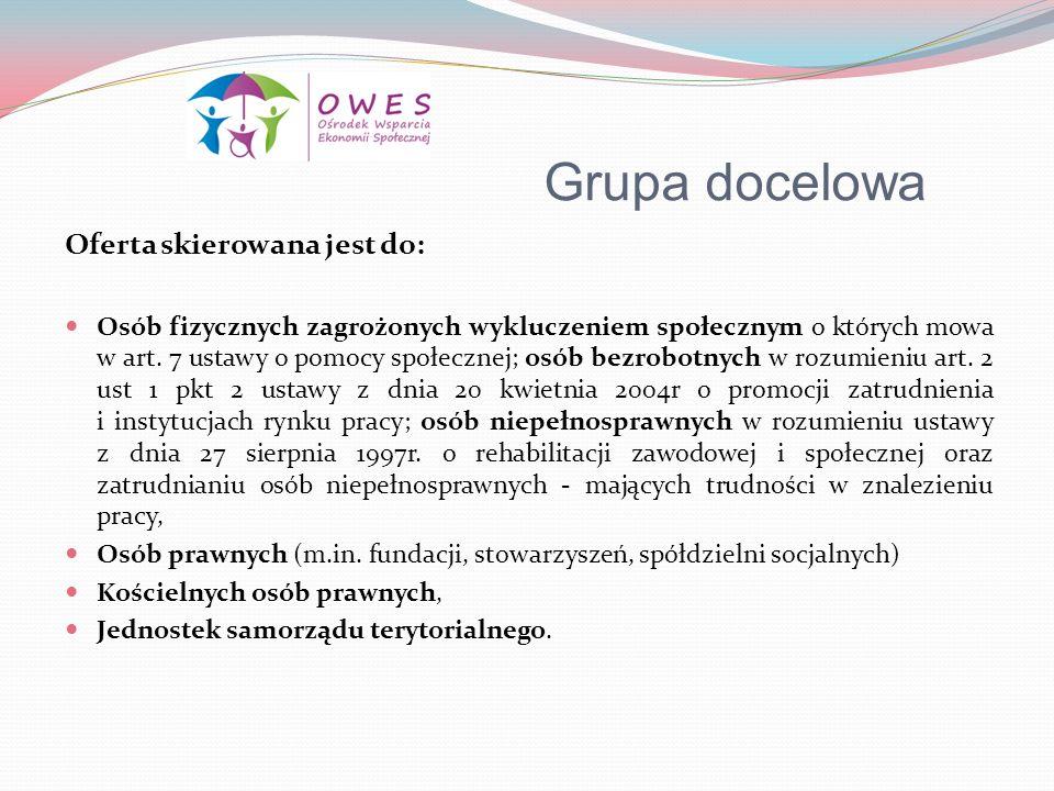 Grupa docelowa Oferta skierowana jest do: Osób fizycznych zagrożonych wykluczeniem społecznym o których mowa w art. 7 ustawy o pomocy społecznej; osób