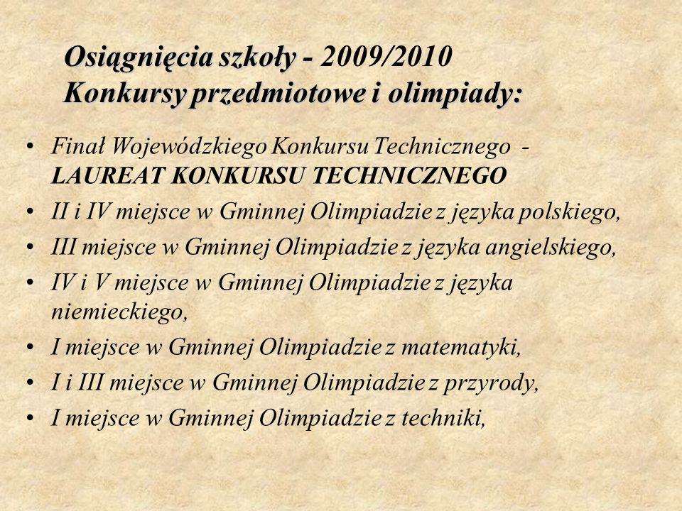 Osiągnięcia szkoły - Konkursy przedmiotowe i olimpiady: Osiągnięcia szkoły - 2009/2010 Konkursy przedmiotowe i olimpiady: Finał Wojewódzkiego Konkursu