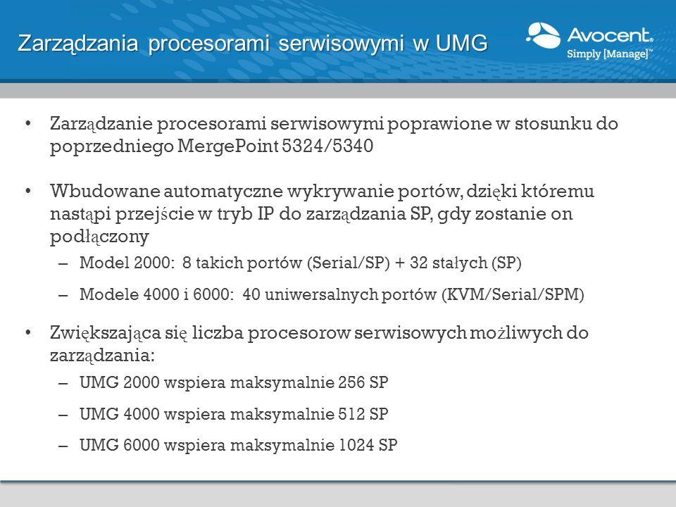 Zarz ą dzanie procesorami serwisowymi poprawione w stosunku do poprzedniego MergePoint 5324/5340 Wbudowane automatyczne wykrywanie portów, dzi ę ki kt