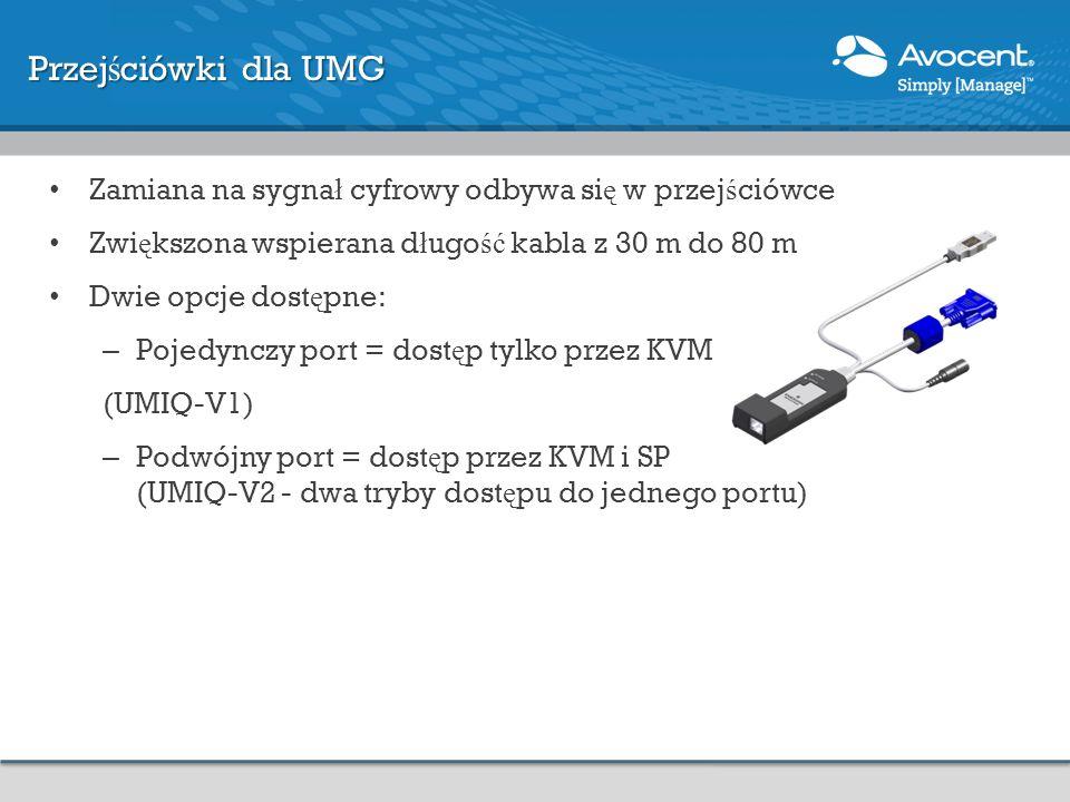 Przej ś ciówki dla UMG Zamiana na sygna ł cyfrowy odbywa si ę w przej ś ciówce Zwi ę kszona wspierana d ł ugo ść kabla z 30 m do 80 m Dwie opcje dost