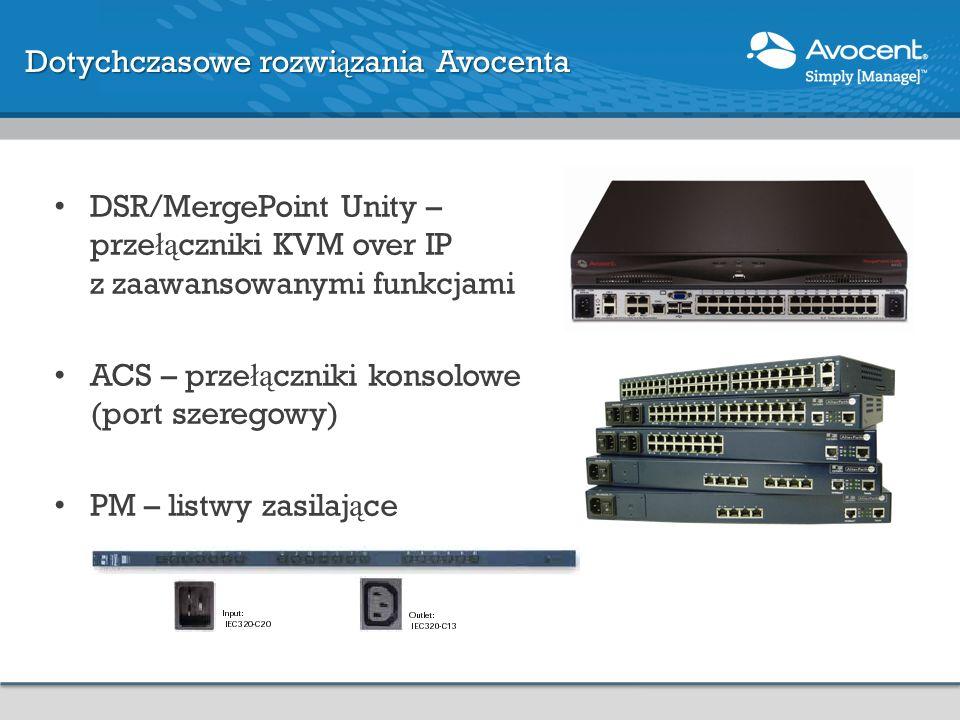 Dotychczasowe rozwi ą zania Avocenta DSR/MergePoint Unity – prze łą czniki KVM over IP z zaawansowanymi funkcjami ACS – prze łą czniki konsolowe (port