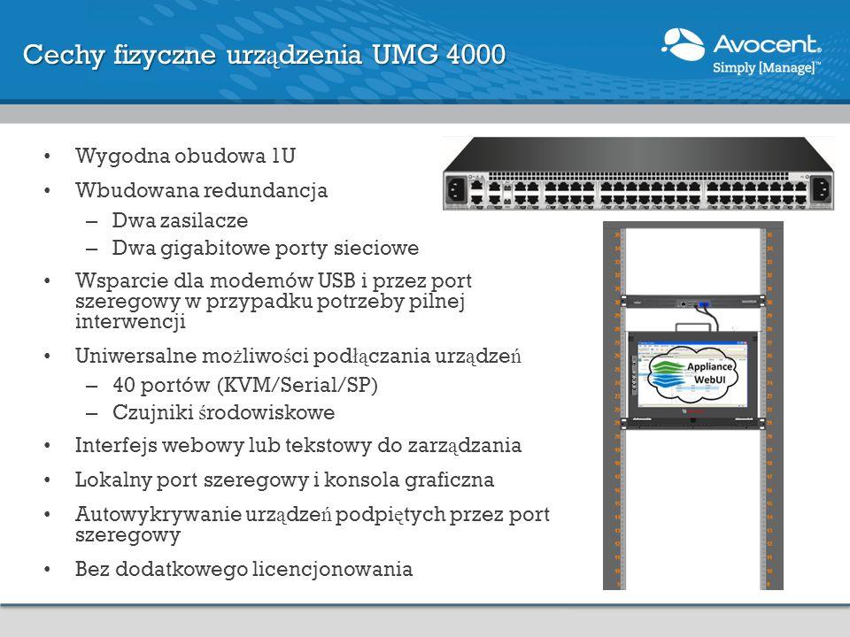 Cechy fizyczne urz ą dzenia UMG 4000 Wygodna obudowa 1U Wbudowana redundancja – Dwa zasilacze – Dwa gigabitowe porty sieciowe Wsparcie dla modemów USB
