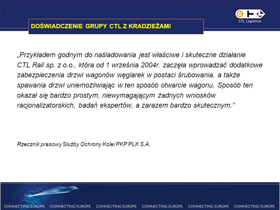 DOŚWIADCZENIE GRUPY CTL Z KRADZIEŻAMI Przykładem godnym do naśladowania jest właściwe i skuteczne działanie CTL Rail sp.