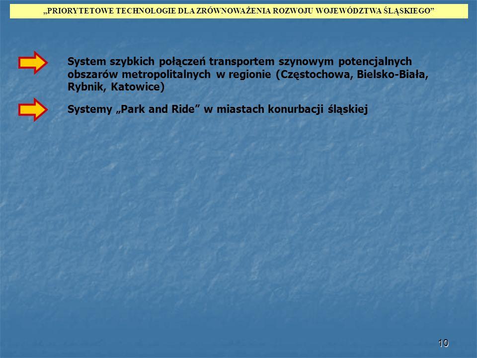 10 System szybkich połączeń transportem szynowym potencjalnych obszarów metropolitalnych w regionie (Częstochowa, Bielsko-Biała, Rybnik, Katowice) PRI