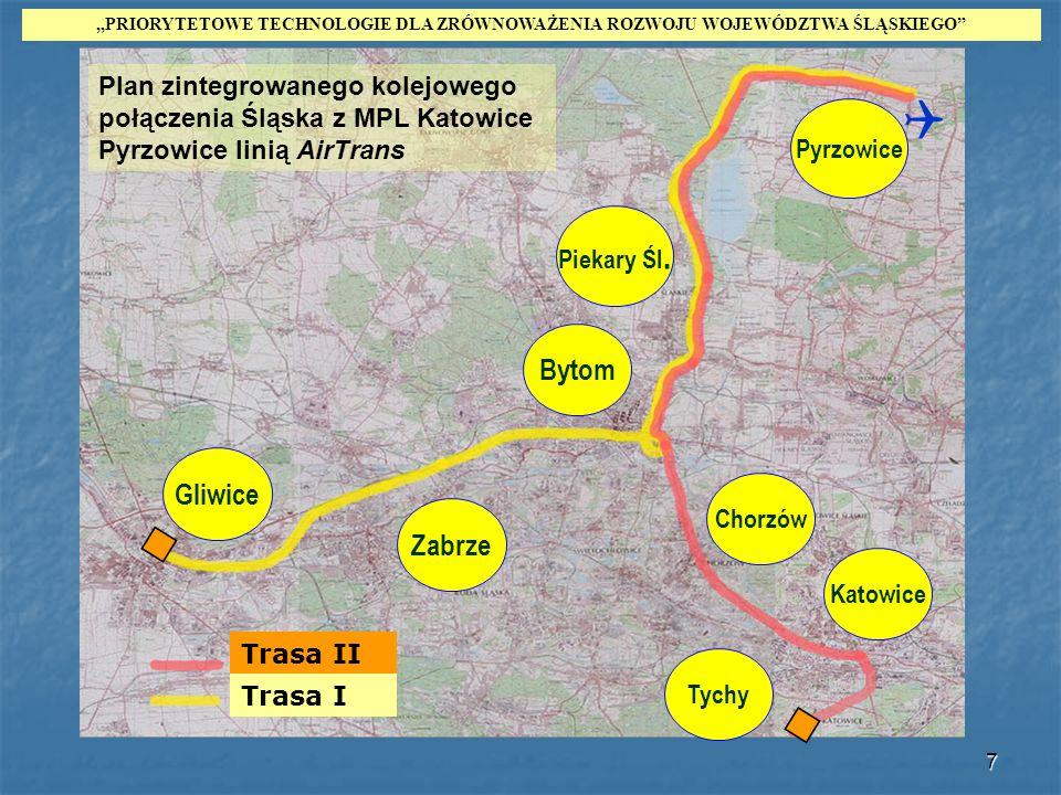 7 Bytom Trasa II Trasa I Plan zintegrowanego kolejowego połączenia Śląska z MPL Katowice Pyrzowice linią AirTrans Gliwice Zabrze Piekary Śl. Pyrzowice