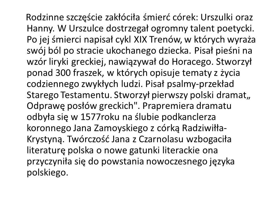 Twórczość Epitaphium Cretcovii (powst.1558) Zuzanna (wyd.
