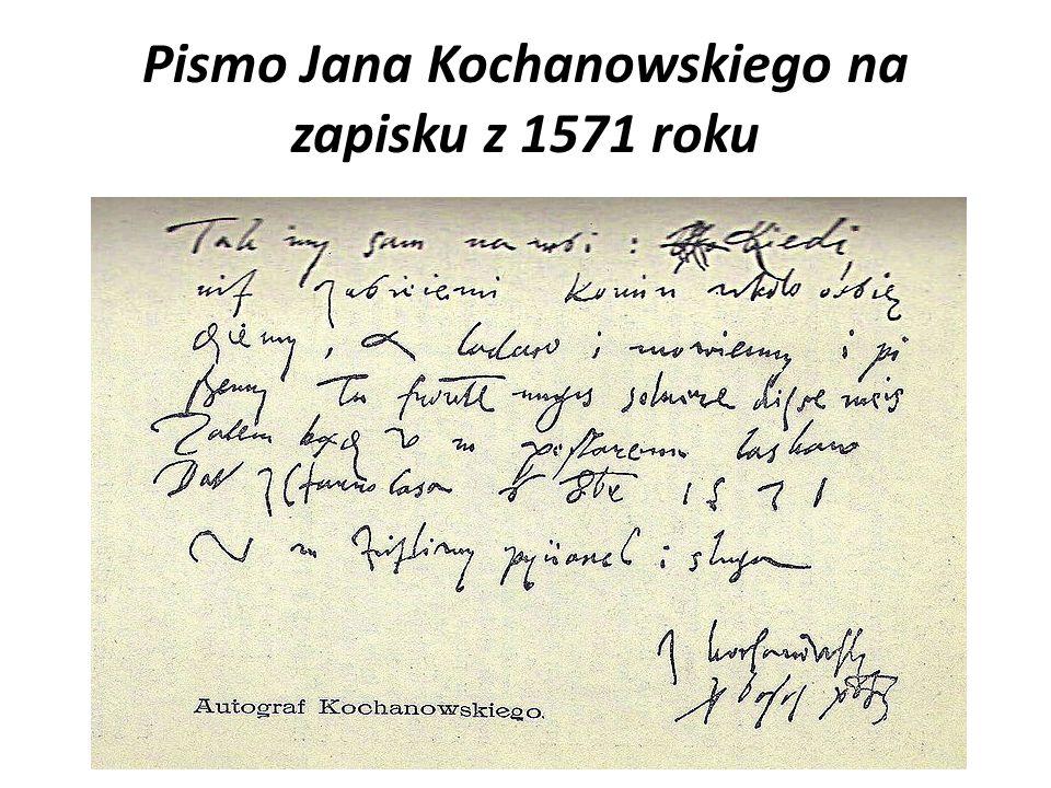 Pismo Jana Kochanowskiego na zapisku z 1571 roku
