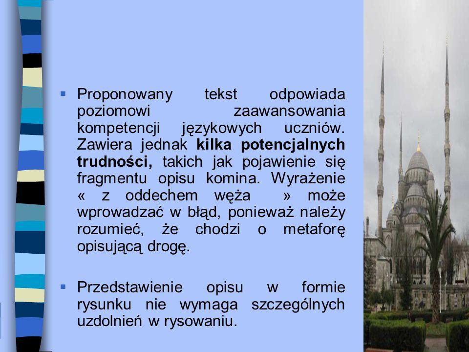 Proponowany tekst odpowiada poziomowi zaawansowania kompetencji językowych uczniów.