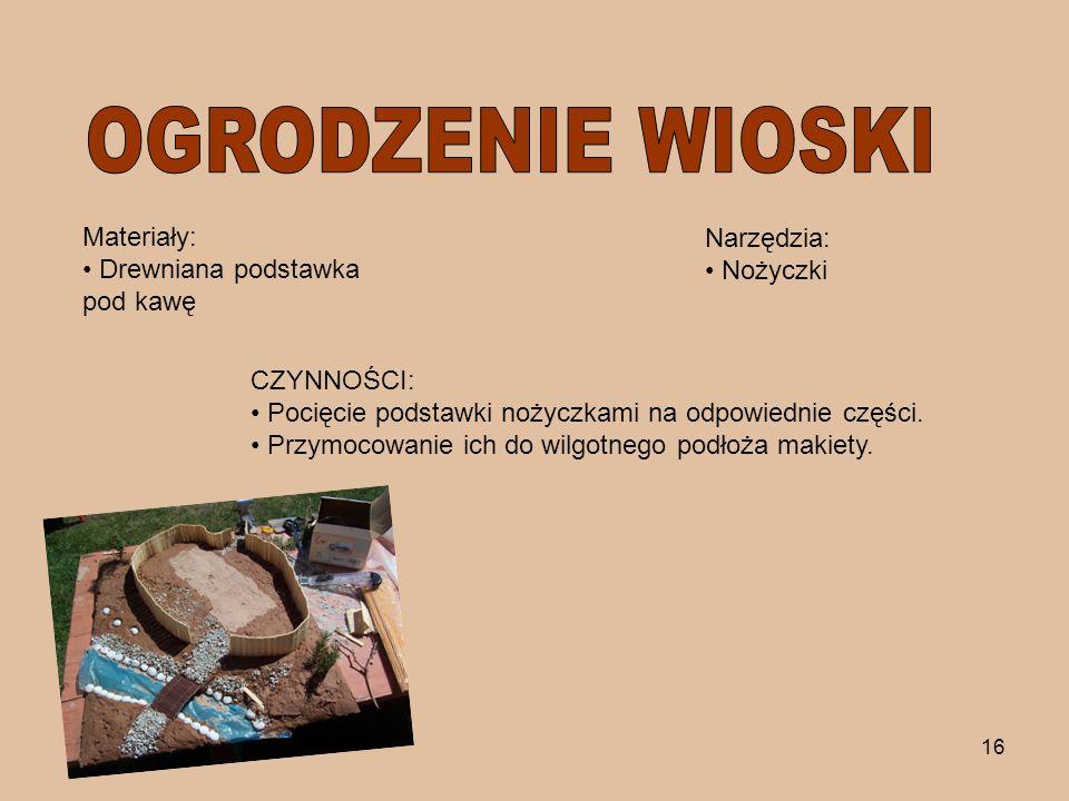 16 Materiały: Drewniana podstawka pod kawę Narzędzia: Nożyczki CZYNNOŚCI: Pocięcie podstawki nożyczkami na odpowiednie części. Przymocowanie ich do wi