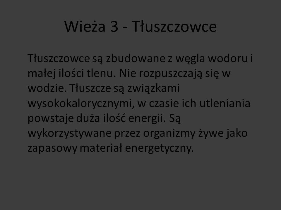 Wieża 3 - wyjście Tłuszczowce są: - NiskokaloryczneNiskokaloryczne - WysokokaloryczneWysokokaloryczne Tłuszcze są wykorzystywane jako: - Materiał budulcowyMateriał budulcowy - Zapasowe materiał energetycznyZapasowe materiał energetyczny