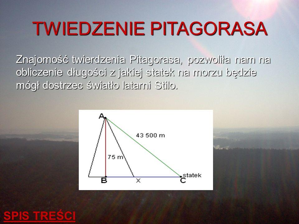 TWIEDZENIE PITAGORASA Znajomość twierdzenia Pitagorasa, pozwoliła nam na obliczenie długości z jakiej statek na morzu będzie mógł dostrzec światło lat