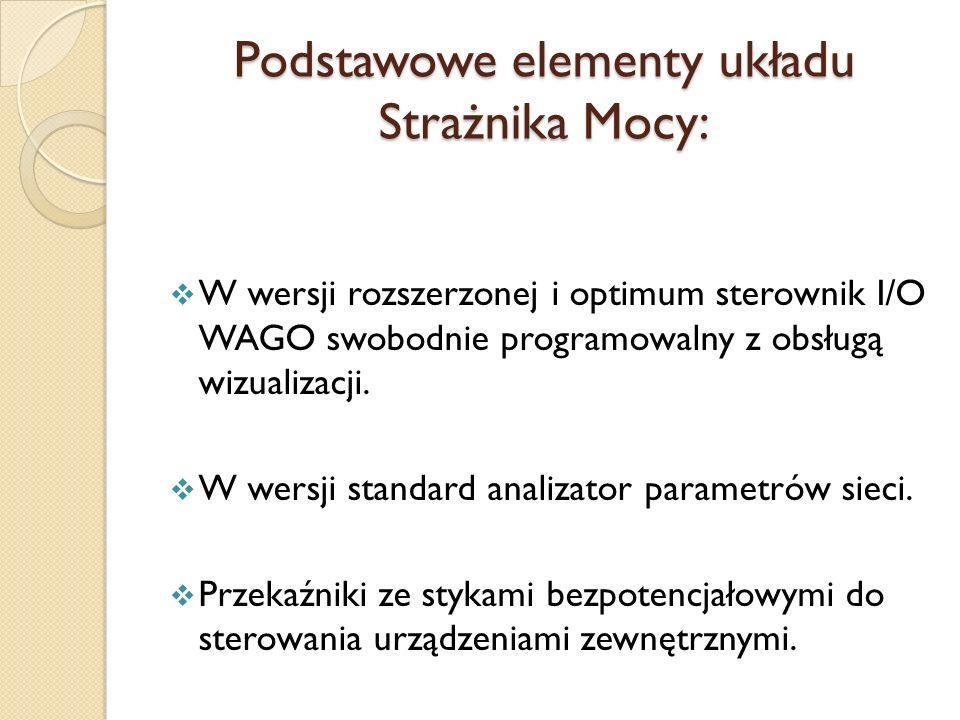 Podstawowe elementy układu Strażnika Mocy: W wersji rozszerzonej i optimum sterownik I/O WAGO swobodnie programowalny z obsługą wizualizacji. W wersji