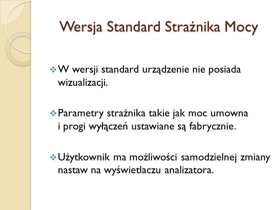Wersja Standard Strażnika Mocy W wersji standard urządzenie nie posiada wizualizacji. Parametry strażnika takie jak moc umowna i progi wyłączeń ustawi