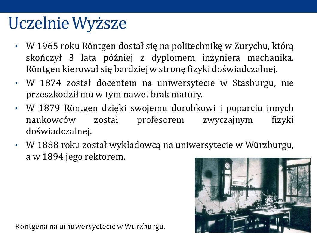 Uczelnie Wyższe W 1965 roku Röntgen dostał się na politechnikę w Zurychu, którą skończył 3 lata później z dyplomem inżyniera mechanika.