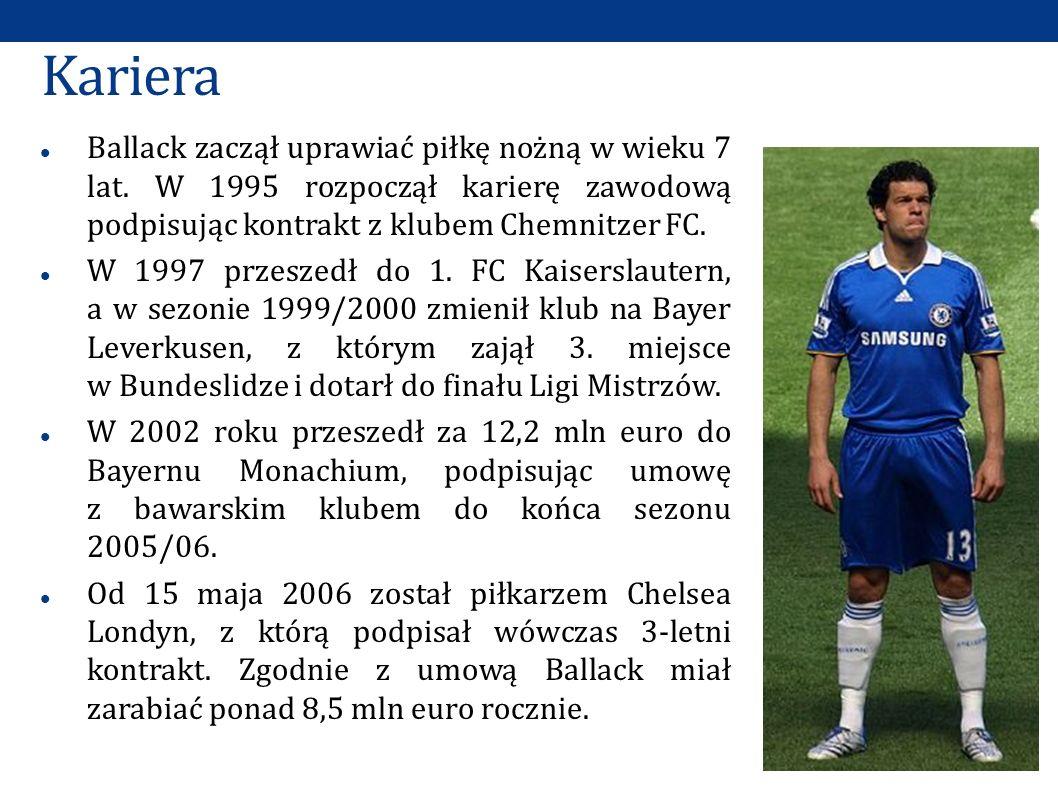 Kariera Ballack zaczął uprawiać piłkę nożną w wieku 7 lat. W 1995 rozpoczął karierę zawodową podpisując kontrakt z klubem Chemnitzer FC. W 1997 przesz