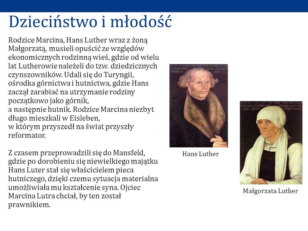 Rodzice Marcina, Hans Luther wraz z żoną Małgorzatą, musieli opuścić ze względów ekonomicznych rodzinną wieś, gdzie od wielu lat Lutherowie należeli do tzw.