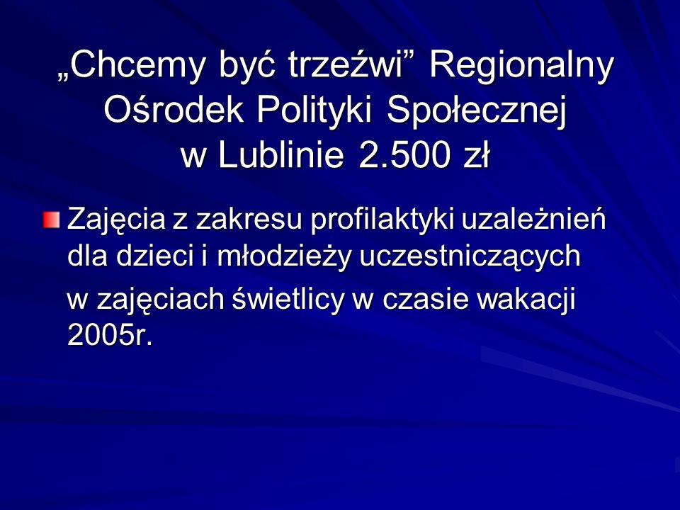 Chcemy być trzeźwi Regionalny Ośrodek Polityki Społecznej w Lublinie 2.500 zł Zajęcia z zakresu profilaktyki uzależnień dla dzieci i młodzieży uczestn